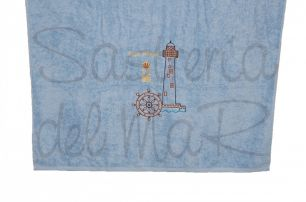 Toalla celeste bordado faro y Capitán de Yate personalizada
