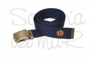 Cinturon de lona azul marino con corona bordada