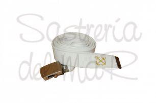 Cinturón de lona blanco con anclas bordadas
