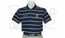 Polo azul con rayas blancas Patrón de Yate personalizado