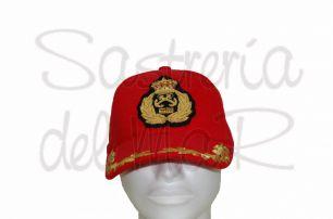 Gorra laureles rojo capitán de Yate ( escudo fantasia)