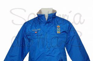 Parka azul royal Capitán de yate personalizada nombre + bandera