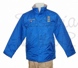 Parka azul royal Patrón de yate personalizada nombre + bandera