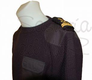 Jersey cuello redondo con charrateras