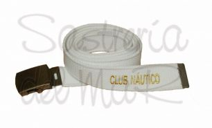 Cinturon de lona blanco con nombre del asociación o club náutico