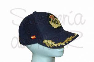 Gorra laureles azul Capitán de Yate escudo a mano bandera