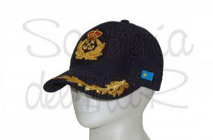 Gorra laureles azul Capitán de Yate escudo a mano bandera Asturias