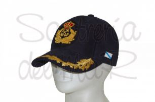 Gorra laureles azul Capitán de Yate escudo a mano bandera Galicia