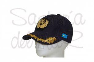 Gorra laureles azul Capitán de Marina Mercante bandera Asturias