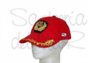 Gorra laureles roja Capitán de Marina Mercante bandera Galicia
