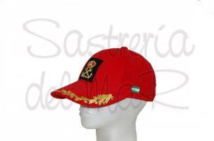 Gorra laureles roja Patrón de Yate a mano bandera Andalucia